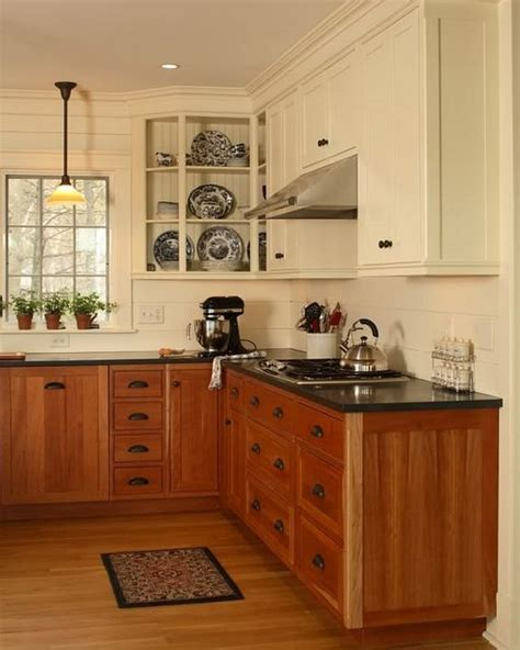 painted or stained kitchen cabinets stained lower cabinets painted upper cabinets mixed upper and lower cabinets decor