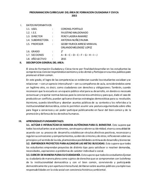 Programacion Curricular Jec | programacion curricular anual jec 2015