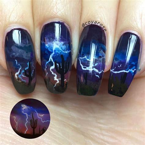 lightning nail art tutorial desert lightning storm nail art hand paint freehand