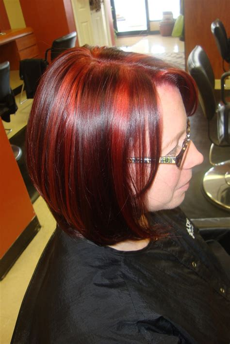 red hair with red highlights or lowlights red base with black lowlights and red highlights hair i