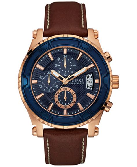 guess s chronograph brown leather 46mm