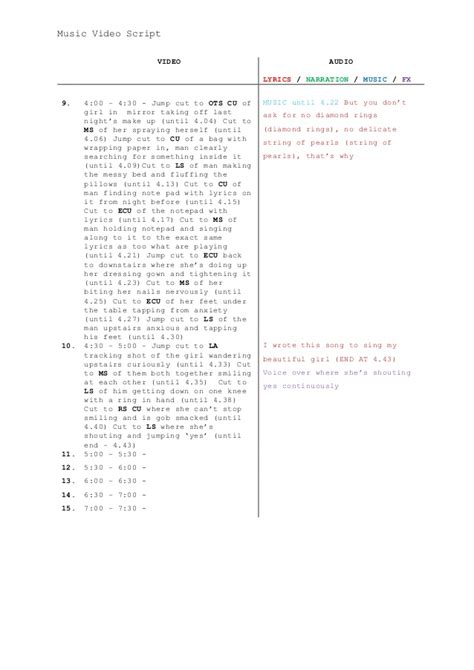 music video script template