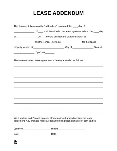 Free Lease Addendum Templates Pdf Word Eforms Free Fillable Forms Addendum To Contract Template Word