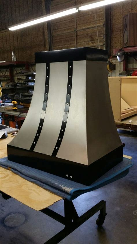 Buy a Hand Made Stainless Steel And Black Strap Range Hood