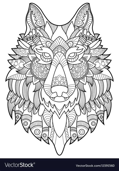 wolf coloring book wolf coloring book for adults royalty free vector image