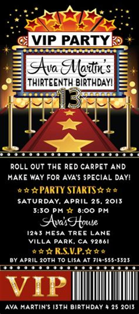 Printable Academy Awards Oscars Hollywood Party Event Ticket Invitations Oscar Night Vip Birthday Invitations Templates Free