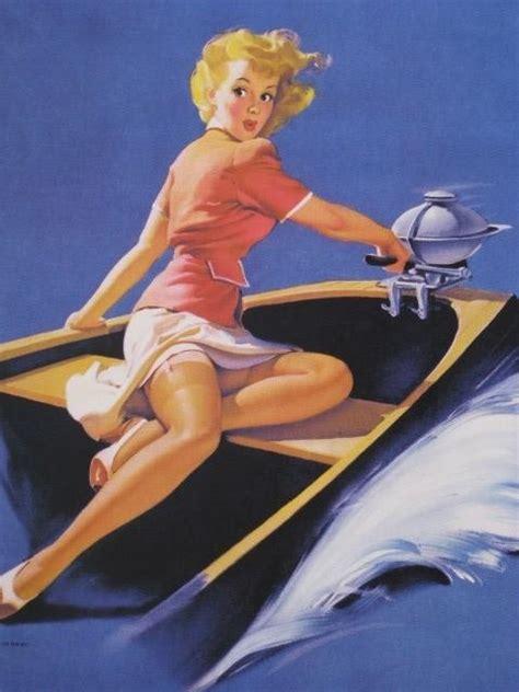 bathtub pinup elvgren sailor girl in motor boat pin up deco bathroom