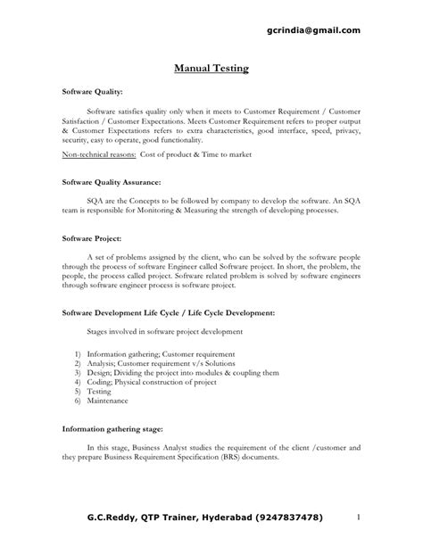 sle resume for 1 year experience in manual testing manual testing sle resumes sarahepps