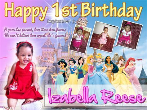 tarpaulin layout design for 1st birthday isabella reese s 1st birthday disney princess cebu