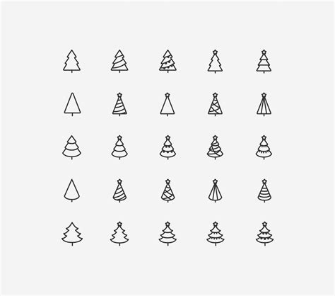 eps format line 25 line stylized tree vector minimal icons