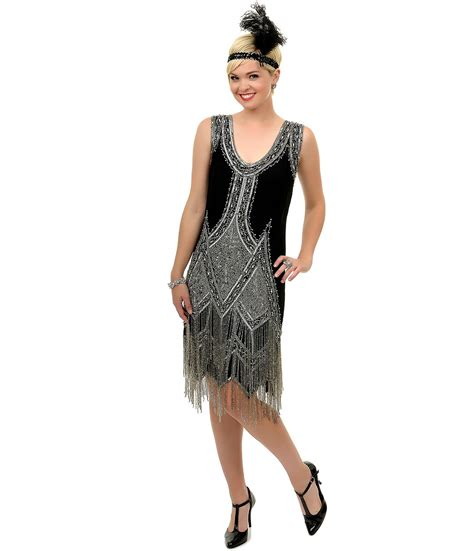 Sale Dress Import 6392 Black sale 1920 s style great gatsby black silver beaded