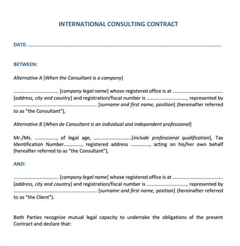 Consultancy Agreement Letter Format Consulting Contract Template 12 Sles Exles Format