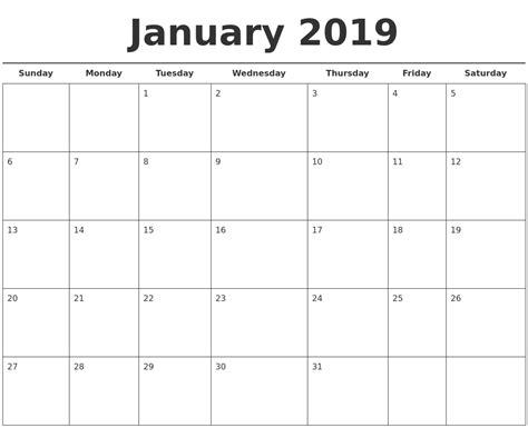printable calendar january 2019 january 2019 free calendar template