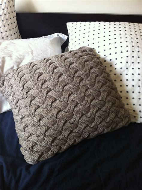 knitted pillow cover pattern free ravelry chunky cable knit braided pillow pattern by