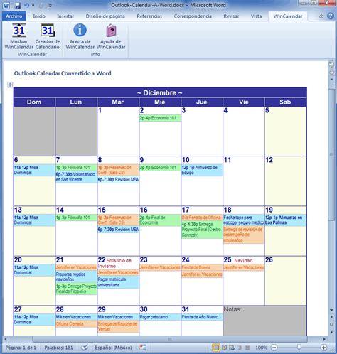 importar outlook calendar  excel  word