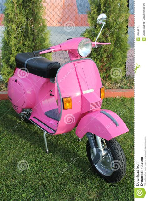 pink italian antique vespa stock image image  colourful