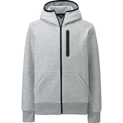 Uniqlo Mens Sweatpants Grey Original uniqlo stretch sweat sleeve zip hoodie in gray for lyst
