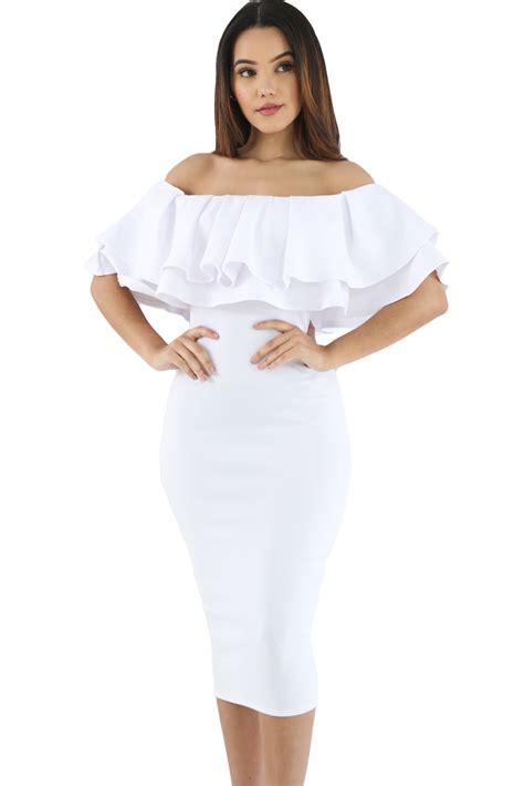 Impor Layer Bow Black White Mini Midi Skirt Flare Rok Sepan Span Hitam white layered ruffle shoulder midi dress charming wear