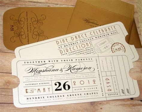 ticket travel theater ticket theatre ticket ticket die cut ticket wedding invitation