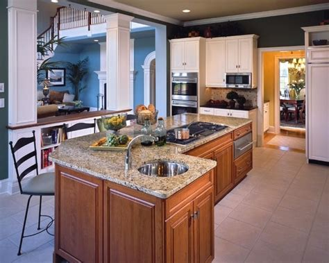 center island kitchen with stove not these finishes but this setup center island with