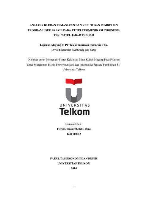 email telkom university daftar isi laporan magang di pt telekomunikasi indonesia
