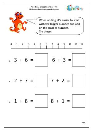 printable numeracy games year 1 addition largest number first addition maths worksheets