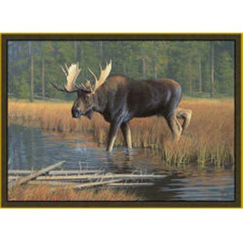 moose rugs custom printed rugs 37x52 quot moose rug 216658 rugs at sportsman s guide