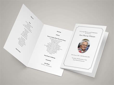 Traditional With Oval Picture Funeral Hymn Sheets Funeral Order Of Service Template Free