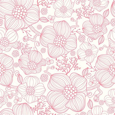 pattern flowers line red line art flowers seamless pattern background stock