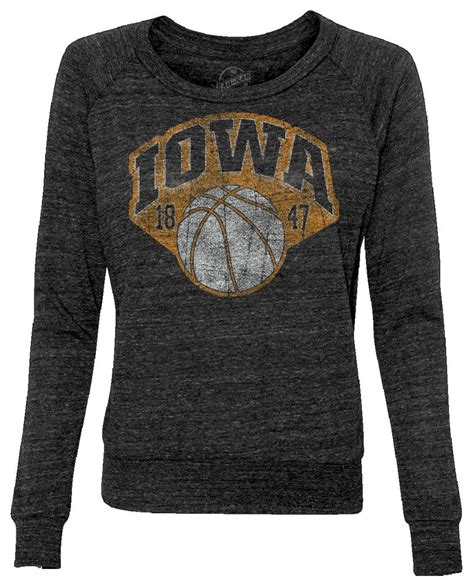 vintage iowa basketball 1847 slouchy pullover black