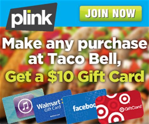 Register Taco Bell Gift Card - get a 10 taco bell gift card from plink 2016