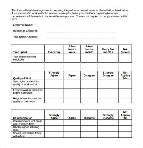 360 performance evaluation template 9 employee evaluation templates sle templates