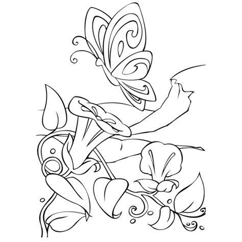dibujo de mariposa en flores para colorear mariposas y flores para colorear e imprimir