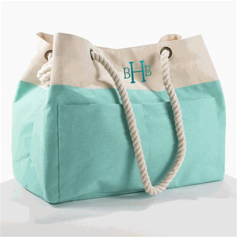 Embroidered Canvas Tote Bag embroidered color block tote bag