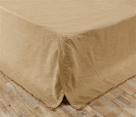 Beige Bed Skirt by Beige Burlap Fringed Bedskirt