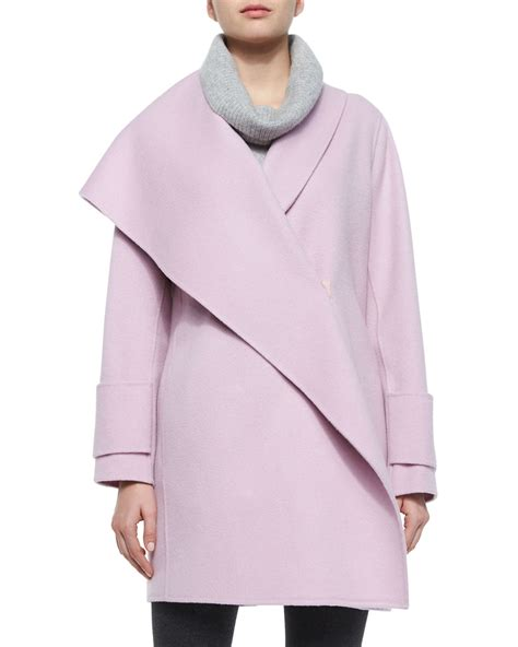 draped coats vince asymmetric draped wool coat in pink lyst
