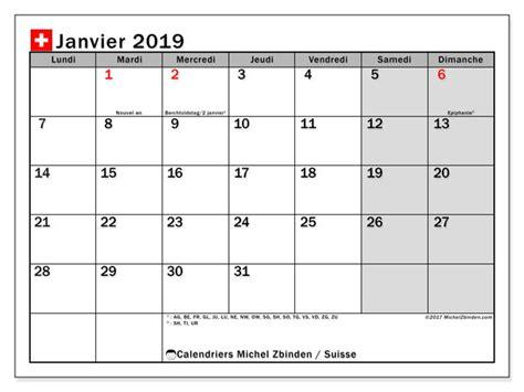 Calendrier 2019 Suisse Calendrier Janvier 2019 Suisse
