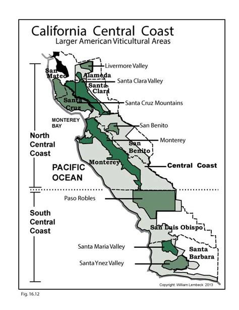 california map central coast ca central coast u s wine map wine wit and wisdom