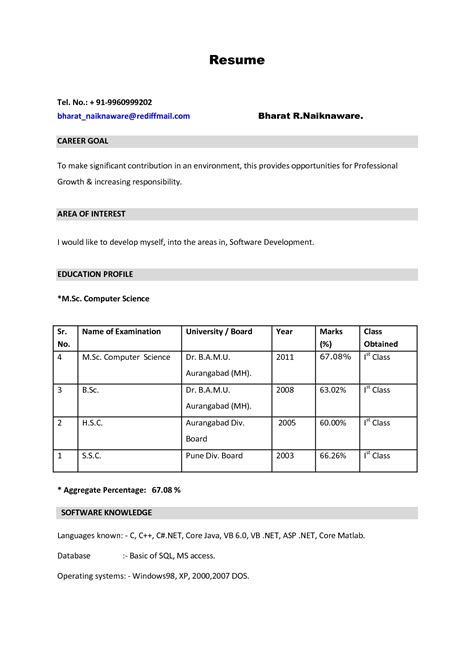 Resume For It by Resume Format For Biotechnology Freshers It Resume Cover