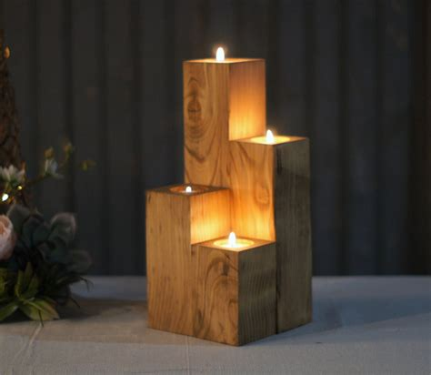 candel holder reclaimed wooden cube candle holder set of four tealight