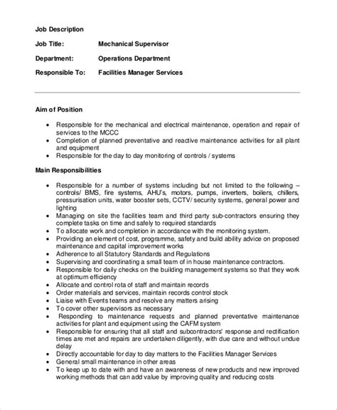 maintenance description exle of a maintenance resume maintenance manager resume exle