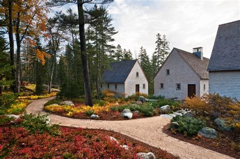 pond house farmhouse landscape portland maine by