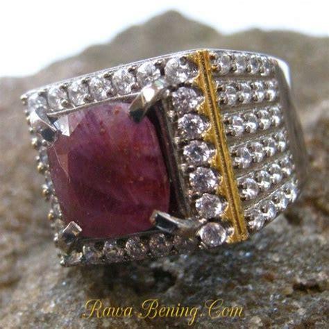 Cincin Cincin Berlian Imitasi Silver 3 Batu 1 5 Karat Lapis Emas P burgundy silver 925 s ring size 8us untuk pria