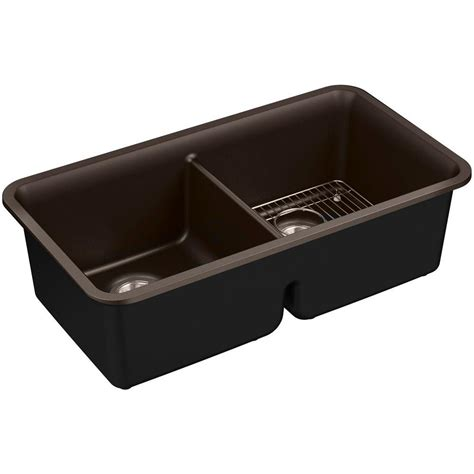 Kitchen Sink Kit Kohler Cairn Undermount Neoroc 34 In Bowl Kitchen Sink Kit In Matte Brown K 8199 Cm2
