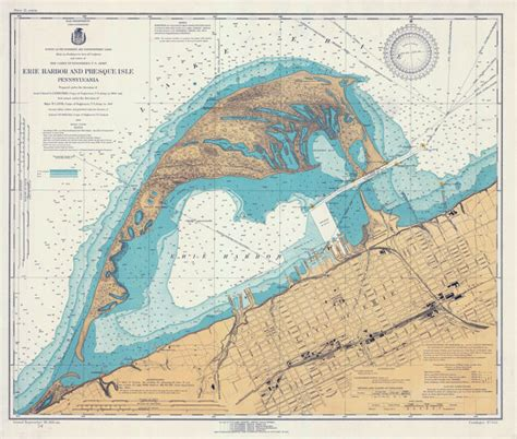 printable map erie pa 1920 nautical map of erie harbor and presque isle lake erie pa