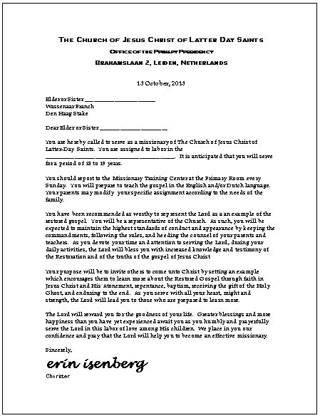 call letter template lds primary talks for 2015 sle new calendar