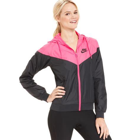 Nike Windrunner Pink Black Lyst Nike Colorblocked Hooded Windrunner Jacket In Pink