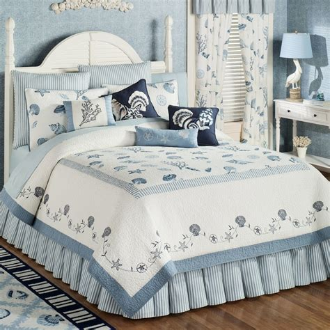bedroom quilts pale blue white bedding sheet with shells and star fish
