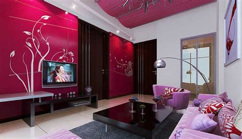 picture decoration ideas interior decoration red tv wall and pink sofa interior