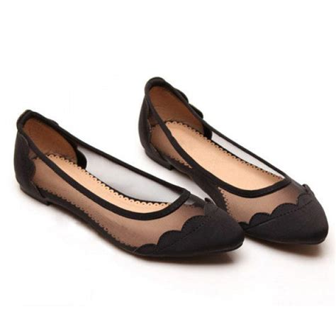 black flat womens shoes casual splicing and gauze design s flat shoes